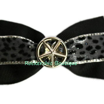 Black Bow with Silver Star - Rocker Chic, Glam, Cute, Pretty, Girls, Dance Costume, Sparkly, Velvet