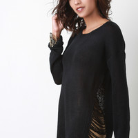 Side Frayed Knitted Sweater Top