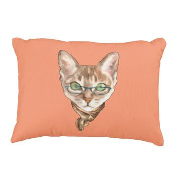 Fancy Sphynx Cat Lovers Decor Glasses Scarf Kitten Decorative Pillow