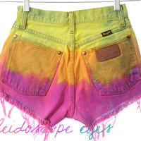 Vintage Wrangler High Waist COLORFUL OMBRE Dip Dyed Denim Cut Off Shorts XS