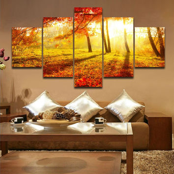 5 Panels Golden Sunrise Forest Landscape Painting Canvas Printing Modern Wall Art Picture for Home Living Office Decor