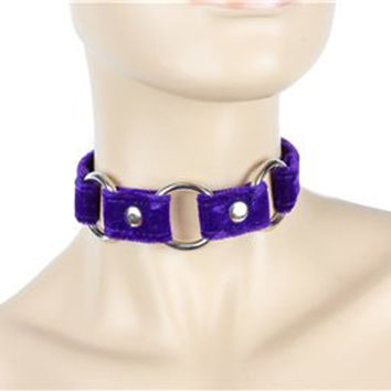 "Purple Velvet Choker With 3 Silver O-Rings 3/4"" Wide Leather"