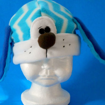 Baby puppy hat, fleece puppy hat,blue puppy hat, chevron hat, newborn puppy hat,baby outerwear, fleece baby hat