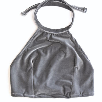 Cement Velvet Halter Top