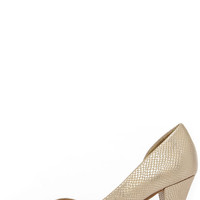 CL by Laundry Angelina Gold Snakeskin D'Orsay Kitten Heels