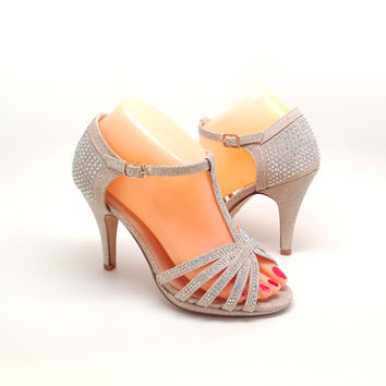 Rose Gold Party Heel with Rhinestones