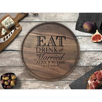 Personalized Engraved Round Cutting Board, Walnut Wood - CB11