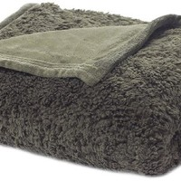 Oversized Reversible Plush Sherpa Throw, Sage, 60 inch x 80 inch