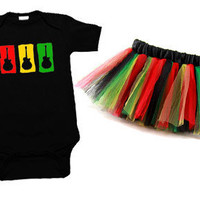Rasta Guitar One Piece & Tutu Set