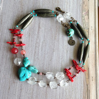 Turquoise Boho Chic Beaded Necklace with Coral and Clear Quartz & Pyrite Tubes