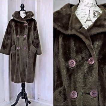 60s faux fur coat size M / vintage faux fur / double breasted mod long winter coat / brown faux fur swing coat