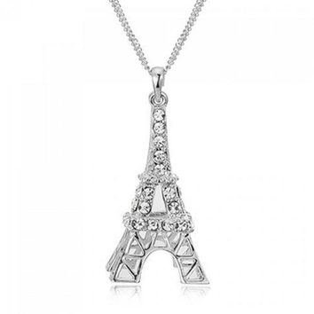 Romantic Rhinestoned Eiffel Tower Sweater Chain For Women - Cool White Light