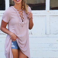 Next In Line Laced Up Tunic {Mauve}