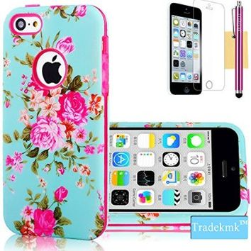 iPhone 5C Case, Tradekmk(TM) Brand New Cool Durable Hybrid 3-Piece Shockproof Bumper Hard Back Case Cover[Elegant Orchid Pattern] Compatible with Apple iPhone 5C[+Stylus+Screen Protector+Cleaning Cloth]-(Rose Red)