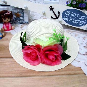 ESB1ON 1 Pcs 2016 New Korean Fashion Women And Girl Sun Hats Spring Summer parent-child Beach Straw Hat 8 Colors Free Shipping