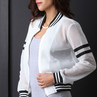 Honeycomb Mesh Stripe Trim Bomber Jacket