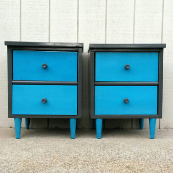 Pair Of Modern Nightstands Gray & Aqua Bedside Tables Night Stands Bedroom Furniture Painted Wood Vintage Storage Mid Century Drawers Grey