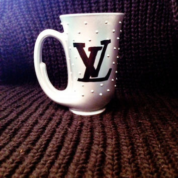 Matte Silver Louis Vuitton Glass Mug