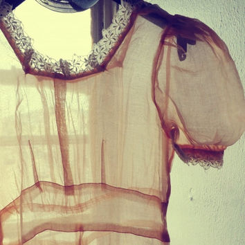 Antique 1800s 1900s Peach Pink Long Sheer Gown Daisy White Lace Cotton Voile Romantic Fall Sundress Wedding Victorian Edwardian Glinda