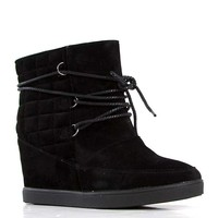 De Blossom Collection Yoga 2 Lace Up Ankle Boots in Black Suede YOGA-2-BLK