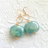 Ceramic Teal Green and Gold Earrings Jewelry Pastel Color