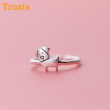 Trusta 100% 925 Sterling Silver Fashion Jewelry Cute Dog Year Cocktail Ring Sizable 5 6 7 Girls Kids Xmas DS360 Drop Shipping