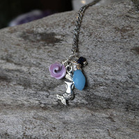 Seashell & Mermaid Necklace, Purple Shell Jewelry, Blue Mermaid Jewelry, Ocean Inspired, Beach Wedding Jewelry, Christmas Gifts Under 20