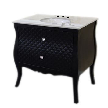 35.4 in Single sink vanity-wood-black-white phoenix stone top with rectangular sink