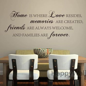 Home Love Memories Friends Forever Family Quote Wall Stickers Decorative DIY Family Home Lettering Quote Wall Art Decals Q136