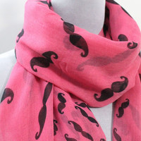 Pink Mustache Scarf Pink and Black Beard Scarf