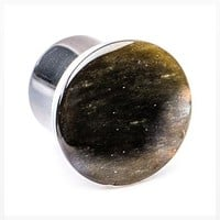 A Pair Of Golden Obsidian Convex Stone Single Flared Plug