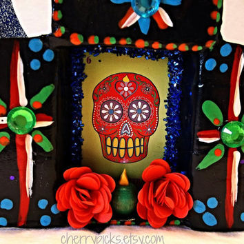 La Calavera Loteria Ornament / Assemblage / Collage / Paper Mache