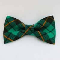 Mens bow tie teal green and black plaid pre tied adjustable or clip on style fall fashion plaid bow tie