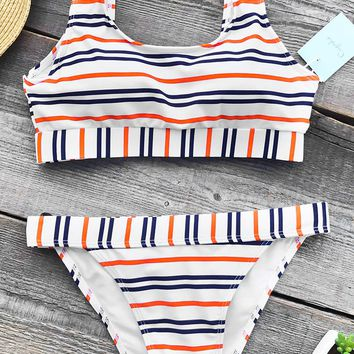 Cupshe A Ray Of Light Stripe Bikini Set