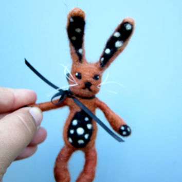Needle felted bunny, small brown rabbit, art bunny, black and white polka dots, posable sculpture, bunny toy