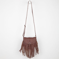 Stud Flap Fringe Crossbody Bag Brown One Size For Women 22037040001