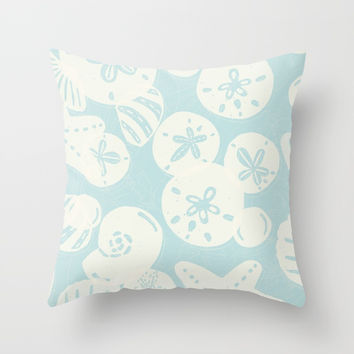 Cream Seashells on Aqua Throw Pillow by Noonday Design