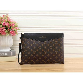 LV Louis Vuitton New Popular Women Men Monogram Leather Office Bag Zipper Wallet Purse Handbag Black I-MYJSY-BB