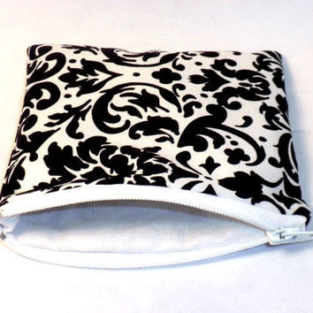 Damask change purse black and white damask by redmorningstudios