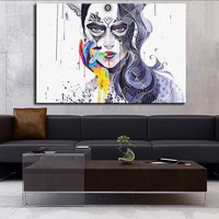 Art Oil Painting beautiful girl canvas No frame