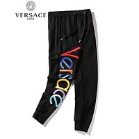 VERSACE Fashion Men Women Casual Embroidery Sport Pants Trousers Sweatpants Black