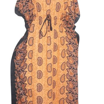 Women's Bohemian Kaftan Dress Orange Paisley Printed Kimono House Dresses