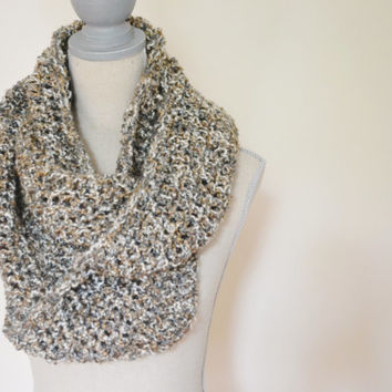 Fall Crochet Infinity Scarf - READY TO SHIP - Gray, ivory, camel crochet scarf