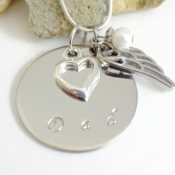 Dad Memorial Necklace ~ In Loving Memory Jewelry for Dad  , Stainless Steel Angel Wing Memorial Gift , Sympathy Gift for lost of dad
