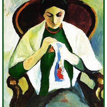 Woman Embroidering Sewing by Expressionist Artist August Macke Counted Cross Stitch Pattern