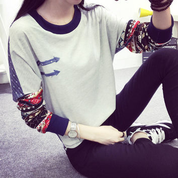 Women's Loose Sweater Comfortable Casual Long Sleeve Elbow Patch T-Shirt Gift 188