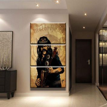 Modern Wall Art HD Printed 3 Pieces Motorhead Lemmy Canvas Paintings Living Room Poster Home Decorative Modular Pictures Frame