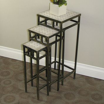 Travertine 3-pc. Square Plant Stand Set - Outdoor (Brown)