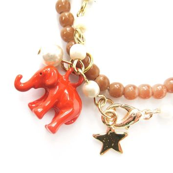 Elephant Charm Animal Stretchy Bracelet in Bright Orange on Brown