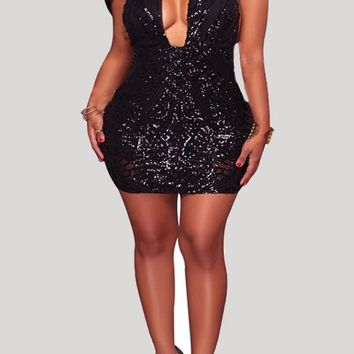 Black Geometric Sequin Backless Halter Neck Deep V-neck Club Wear Party Mini Dress